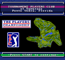 PGA Tour Golf SNES An overview of a golf course