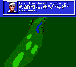 PGA Tour Golf SNES Pro golfer giving advice for the hole