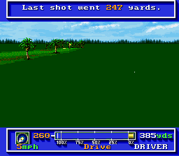 PGA Tour Golf SNES How far the ball travelled