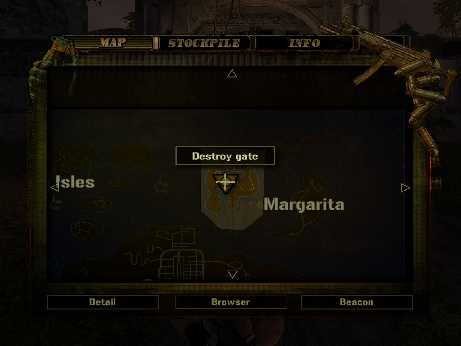 Mercenaries 2: World in Flames Windows The map of the current area with the current objective.