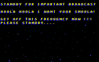 Skunny: Lost in Space DOS Intro text tells the story of astronauts in space losing signal.