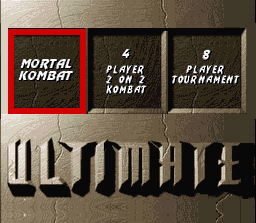 Ultimate Mortal Kombat 3 SNES Select your mode of play