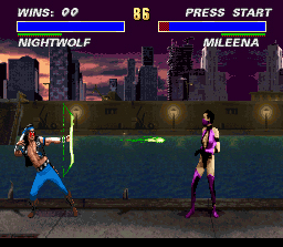 Ultimate Mortal Kombat 3 SNES Nightwolf launches an arrow at Mileena