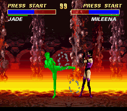 Ultimate Mortal Kombat 3 SNES Mileena blocks Jade's special kick