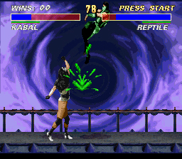 Ultimate Mortal Kombat 3 SNES Kabal hits Reptile with a furious uppercut (btw Reptile is the only character with green blood)