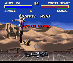 Ultimate Mortal Kombat 3 SNES Sindel celebrates a flawless victory