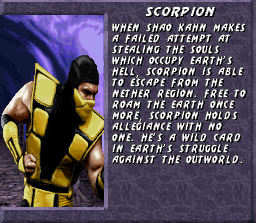 Ultimate Mortal Kombat 3 SNES Character info for the renegade ninja Scorpion