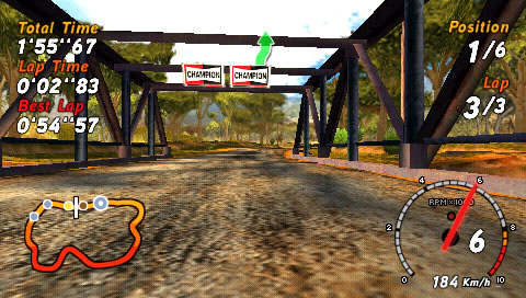 SEGA Rally Revo PSP In pursuit using the first-person perspective.
