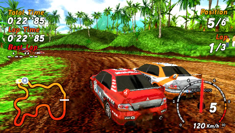 SEGA Rally Revo PSP You can push opponents aside.