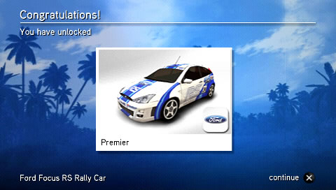 SEGA Rally Revo PSP A new car unlocked.