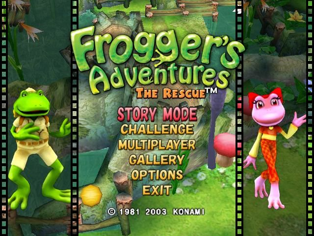 Frogger's Adventures: The Rescue Windows Main Menu - The characters on the left and right change on a regular basis.
