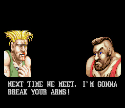 Street Fighter II SNES Post-match insults to humiliate the loser