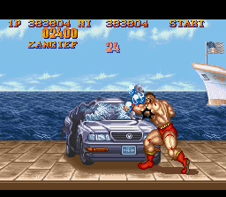 Street Fighter II SNES Zangief wrecking a car in one of the bonus mini-games