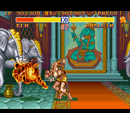Street Fighter II SNES Dhalsim sets Ken on fire with his yoga flame