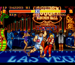 Street Fighter II SNES Ken takes an uppercut on the chin from first boss Balrog