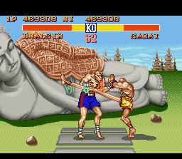 Street Fighter II SNES Third boss Sagat discovers that Dhalsim's legs are pretty long