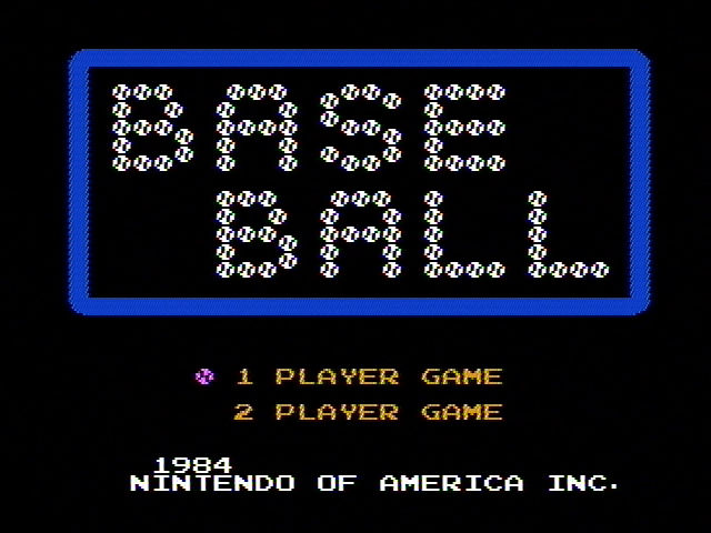 Baseball NES Title screen