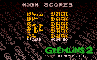 Gremlins 2: The New Batch Amiga High scores