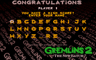 Gremlins 2: The New Batch Amiga High score entry