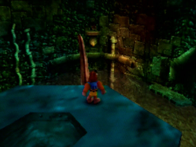 Banjo-Kazooie Nintendo 64 Surveying high atop Clanker's Cavern.
