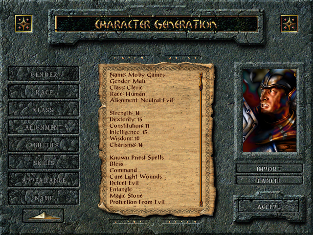 Baldur's Gate Windows Character generating. Classic D&D rules apply