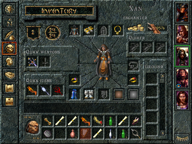 Baldur's Gate Windows Inventory screen. Team members along the right, options/spell books/maps accessible on the left