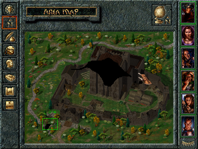 Baldur's Gate Windows The local map is revealed as you walk around it. Characters in your group are highlighted in green circles. Black areas haven't been explored yet.