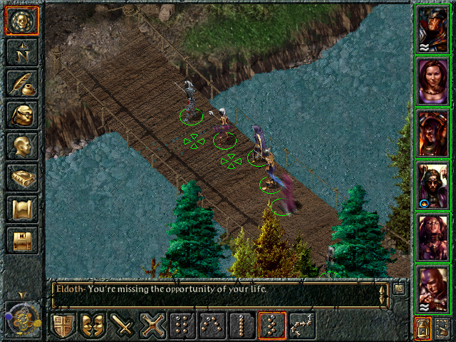 Baldur's Gate Windows Crossing a bridge. One of my group members is wearing a magical robe which allows her to go unseen
