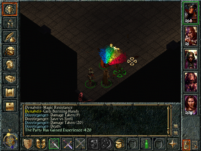 Baldur's Gate Windows Burning Hands spell doesn't cause as much panic as you'd expect probably due to the rainbow is causes
