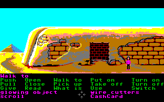 Zak McKracken and the Alien Mindbenders Amiga A secret door has been opened on the Spinx's leg.
