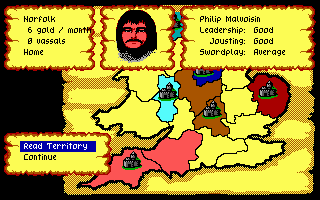 Defender of the Crown PC Booter A territory owned by Philip Malvoisin, a Norman Lord. (EGA/Tandy)