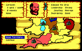 Defender of the Crown PC Booter A territory owned by Edmund Grim, a Norman Lord. (EGA/Tandy)