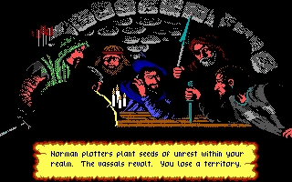 Defender of the Crown PC Booter Evil Normans plotting an evil plot... (EGA/Tandy)