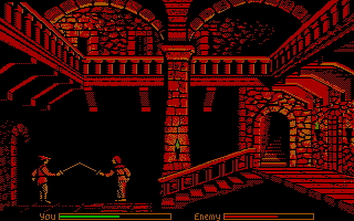 Defender of the Crown DOS Inside the castle's inner keep during a raid
