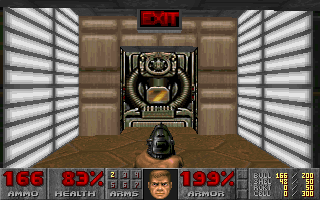 DOOM DOS Found the exit! This is the goal of every level - but have you discovered all its secrets?..