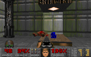 DOOM DOS Found blue key. You'll be key-hunting quite a lot