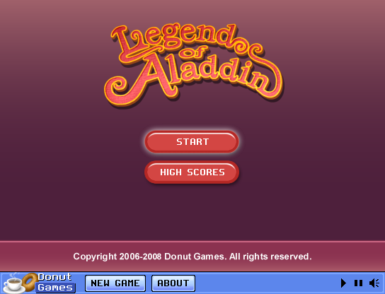 Legend of Aladdin Browser Title screen