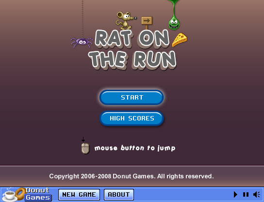 Rat on the Run Browser Title screen