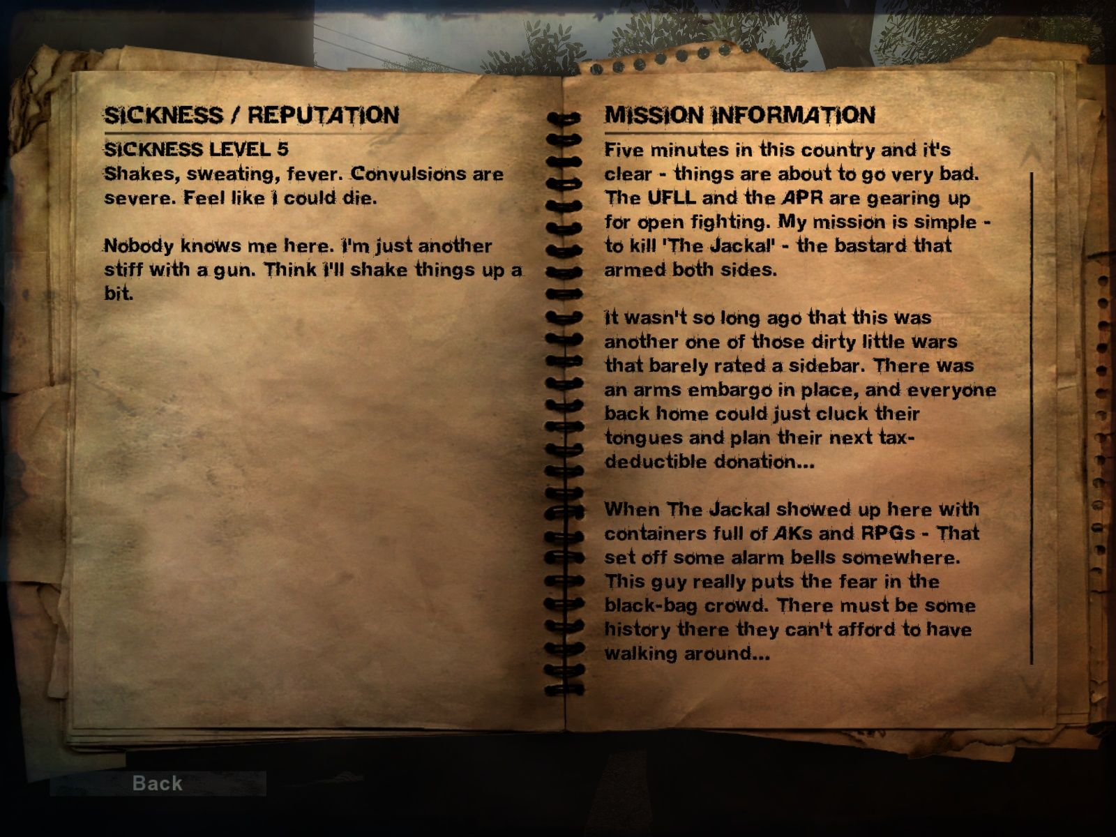 Far Cry 2 Windows The journal with all the important information.