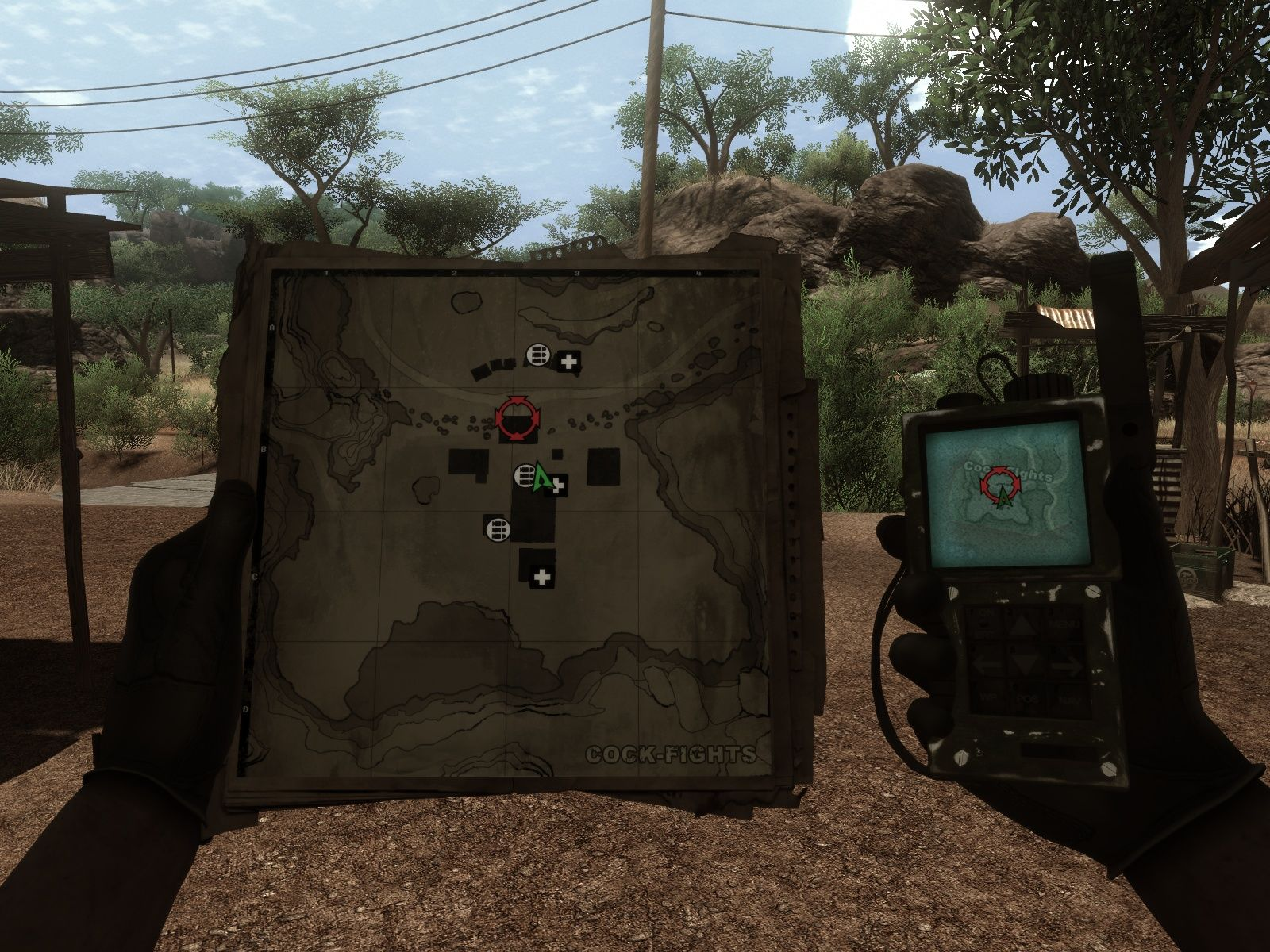Far Cry 2 Windows The map and your GPS phone - the most important survival tools.