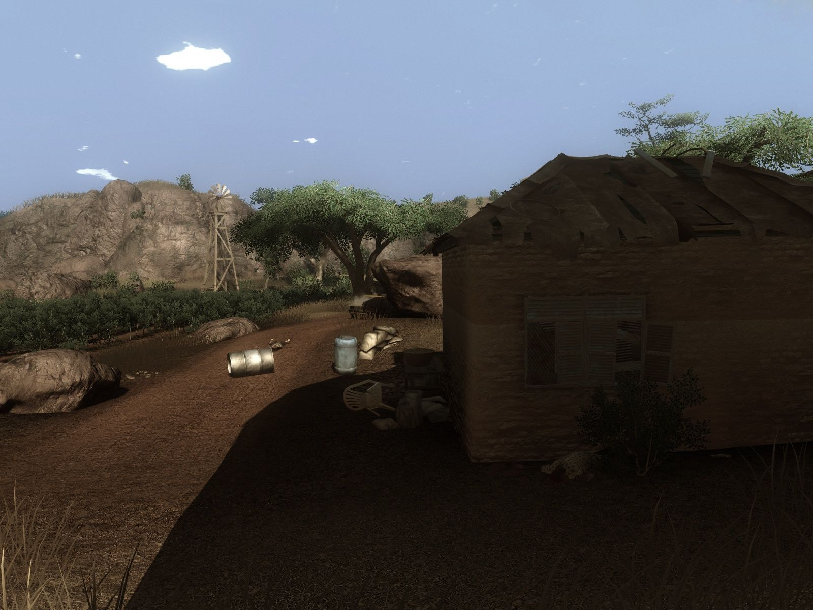 Far Cry 2 Windows The day passes by while the player sleeps in the save house.