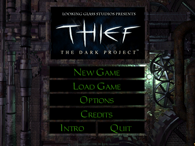 Thief: The Dark Project Windows Title screen.
