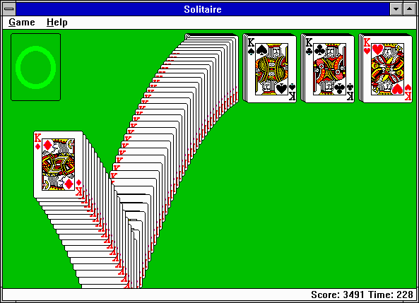 Microsoft Solitaire Windows 3.x Game completed!