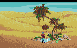 King's Quest V: Absence Makes the Heart Go Yonder! Amiga A cool drink in the desert is just what Graham needs right now.