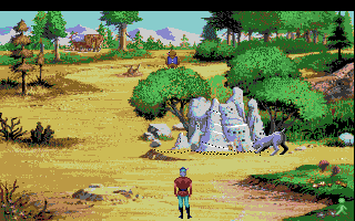 King's Quest V: Absence Makes the Heart Go Yonder! Amiga That dog is bothering the ants.