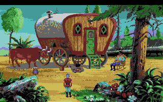 King's Quest V: Absence Makes the Heart Go Yonder! Amiga The gypsy wagon.