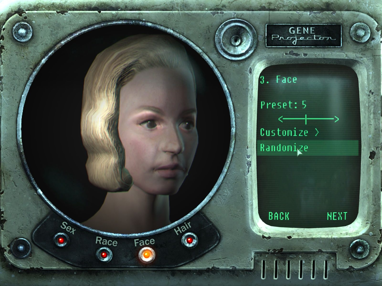 Fallout 3 Windows Create your character.