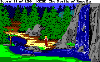 King's Quest IV: The Perils of Rosella Amiga A waterfall.