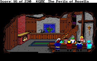 King's Quest IV: The Perils of Rosella Amiga Eating with the Seven Dwarves.