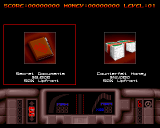 Overlander Amiga First mission selection.